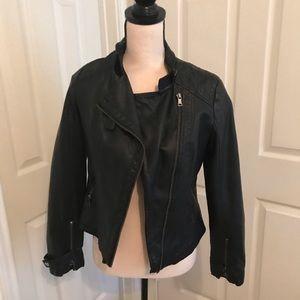 Modern Black Faux Leather Jacket